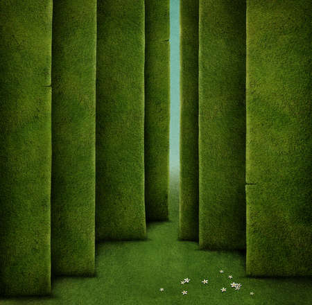 Background for Conceptual illustration with green maze Stock Photo