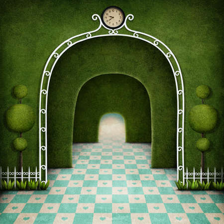 Fantasy Background green maze with an arch and tree Stock Photo