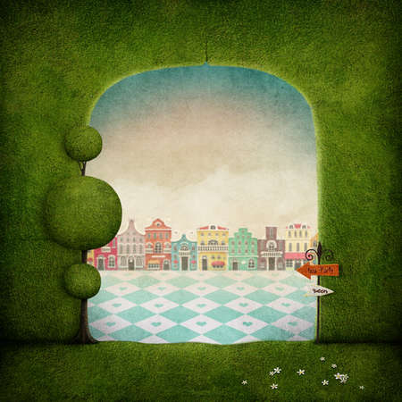 fantasy background: Fantasy background green arch and colorful city. Stock Photo