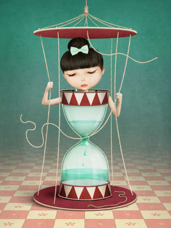 Conceptual illustration of fantasy poster with hourglass and girl cry
