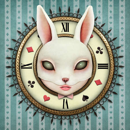 pocket book: Fantasy illustration with a pocket watch Wonderland and head mask bunny girl Stock Photo