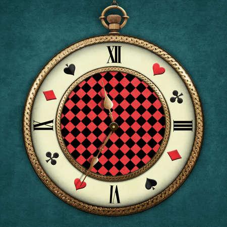 Fantasy illustration with a pocket watch Wonderland