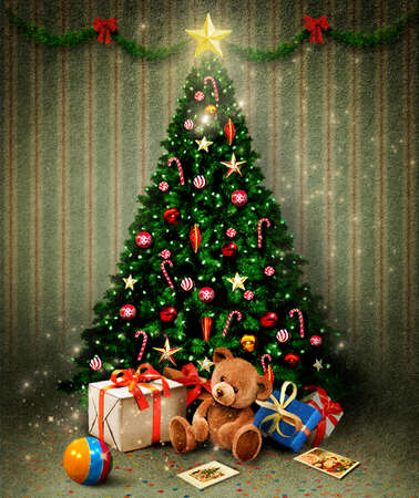 Holiday greeting card with Christmas or New Year room with Christmas tree and gifts Foto de archivo