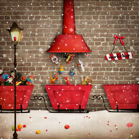 Wenskaart voor Kerstmis of Nieuwjaar Santa's werkplaats en de rode vrachtwagen geschenk.