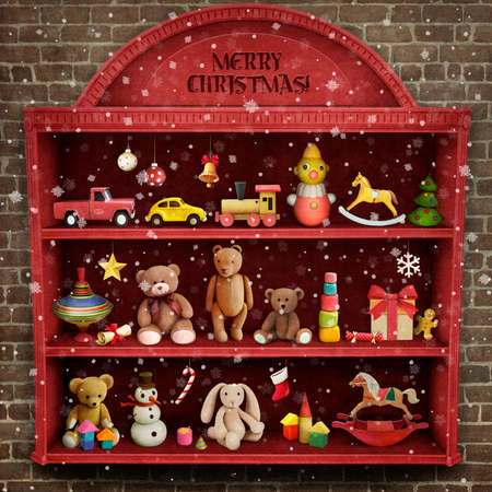 toy shop: Holiday greeting card for Christmas or New Year with showcase of toys