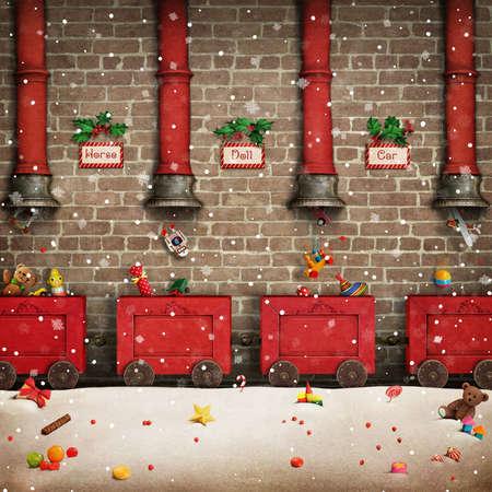 saludos desde las vacaciones de Navidad o de Año Nuevo taller de Santa y el regalo rojo tren