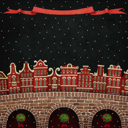 cor: Holiday greeting card for Christmas or New Year with Red winter city and bridge Stock Photo