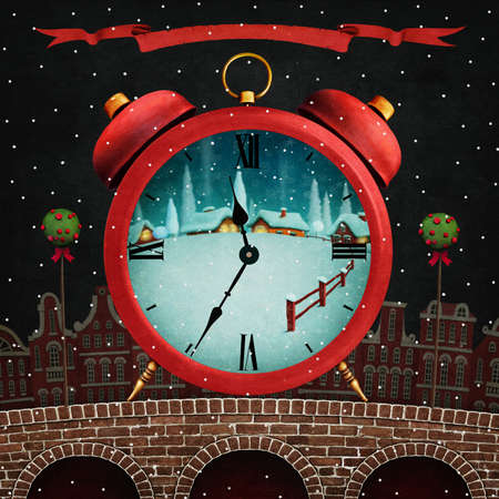 cor: Holiday greeting card for Christmas or New Year with Red winter city and red alarm clock Stock Photo