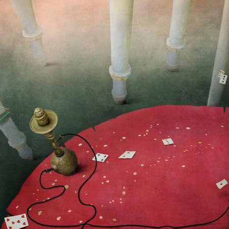 fantasy background: Background fantasy concept illustration and a red mushroom