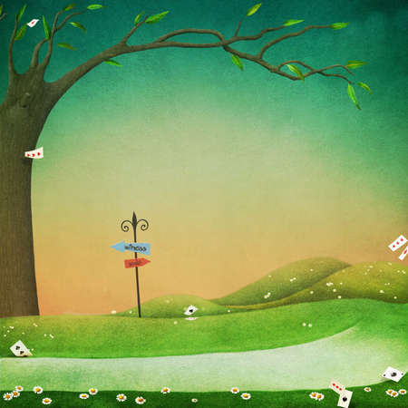 fantasy background: Texture fantasy background for an illustration or poster with a green field and path Stock Photo