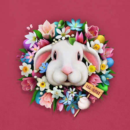 Festive greeting card Easter egg hunt with floral wreath and cute Bunny