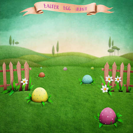 hid: Festive greeting card or poster with green rustic landscape, and Easter eggs Stock Photo