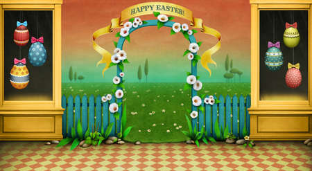 Holiday background or greeting card, illustration or poster showcase, arch and green landscape for Easter