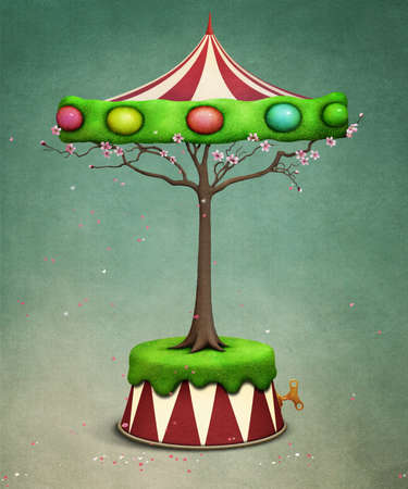 pascuas navideÑas: Holiday greeting card with fantasy tree Carousel with Easter Eggs Foto de archivo