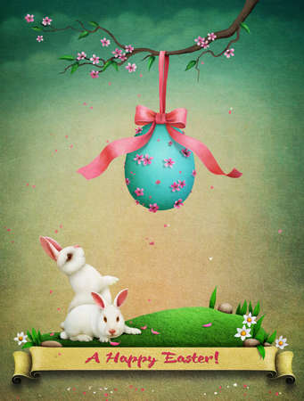 arbol de pascua: Vintage holiday greeting postcard for eve of Easter with Easter eggs and white rabbits on green lawn. Foto de archivo