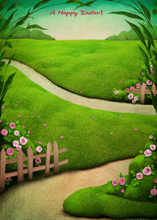 walking trail: Vintage holiday greeting card Easter with green spring rural landscape Stock Photo