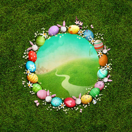 Festive greeting card or poster with round frame with eggs and flowers for Easter