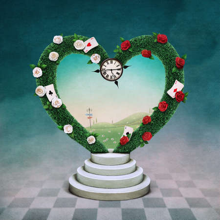 adventure story: Conceptual illustration with green arch in shape of heart and watch, Wonderland. Stock Photo