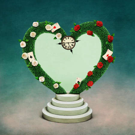 Conceptual illustration with green arch in shape of heart and watch, Wonderland. Stock Photo