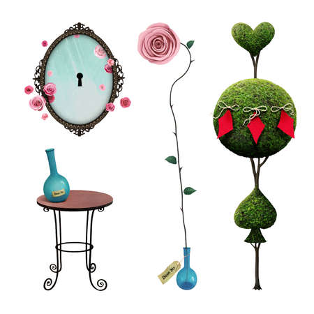 Fantasy isolation elements a Wonderland for magic poster or illustration with tree, mirror, table, rose