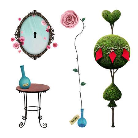 Léments d'isolation de fantaisie un pays des merveilles pour affiche ou illustration magique avec arbre, miroir, table, rose Banque d'images - 73584721