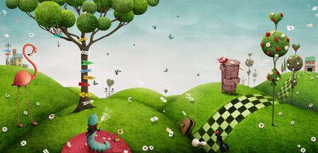Fabelhafter heller Hintergrund mit Fantasieelementen für Wand oder Plakat oder Illustration Märchenland. Standard-Bild