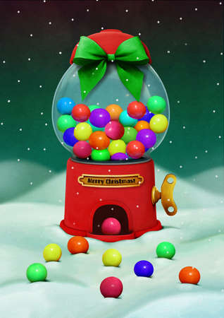 bubble gum: Holiday greeting card merry Christmas with dispenser and candies.