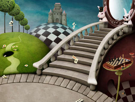 fly agaric: Fabulous background with staircase and mirror for poster or illustration adventure Wonderland