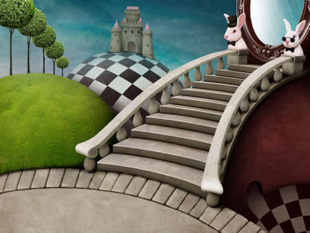 Fabulous background with staircase and mirror for poster or illustration adventure Wonderland