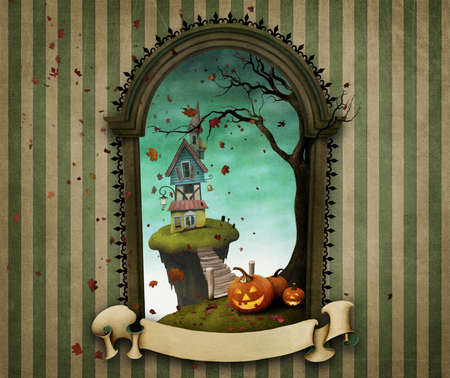 Illustration or poster or greeting card Happy Halloween with frame headstone and banner. Stock Photo
