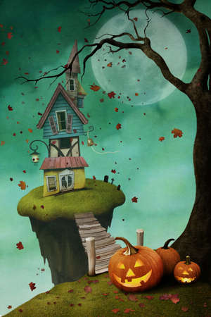 Holiday greeting card for Halloween with house on island, and pumpkins.