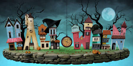 faerie: Festive greeting card or poster with bizarre letters in the form of house for Halloween.
