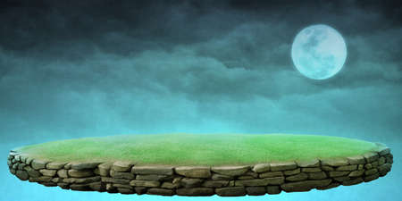 Fantastic background stone podium, the moon and the night sky for postcard or poster