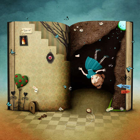 Conceptual illustration with magical book Wonderland and the falling girl