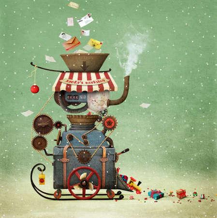 Conceptuele illustratie groet illustratie of briefkaart Kerstmis of Nieuwjaar met Santa's workshop bizarre industriële auto om geschenken te maken. Stockfoto