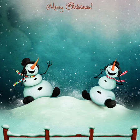 Winter holiday greeting card with two cheerful snowman singing stock photo winter holiday greeting card with two cheerful snowman singing song m4hsunfo