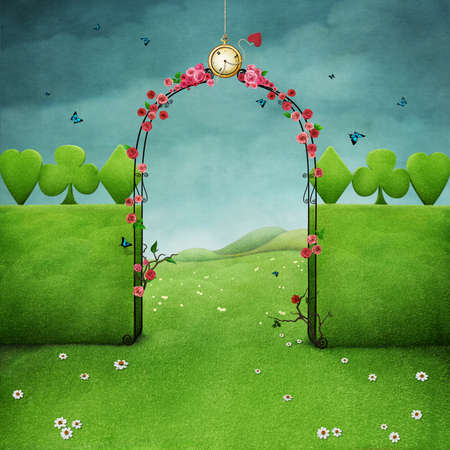 グリーンのバラと芝生とゲートのアーチと景観、時計