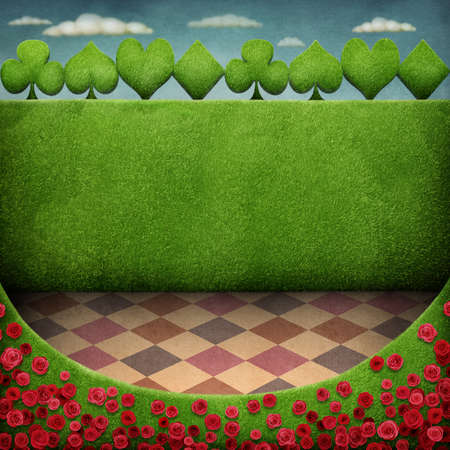 Green landscape with lawn and roses and green fence with card suit