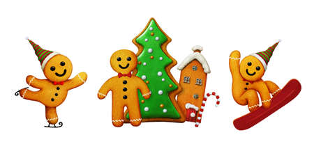 Set of three different Gingerbread man cookies for Christmas greeting cards or illustration.