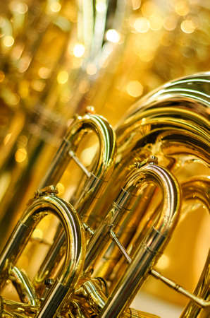 golden brass instrument detail Stock Photo