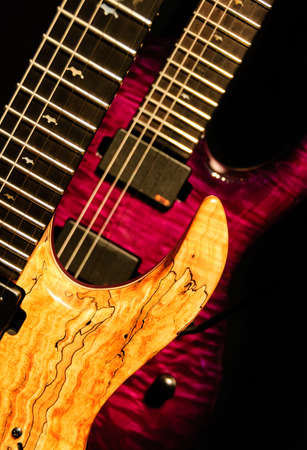 wooden purple rock guitar