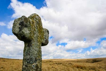 stenen kruis dartmoor Nationalpark engeland Stockfoto