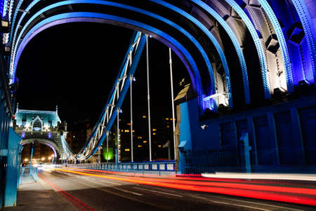 blue tower bridge london by night Stock fotó