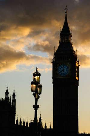 Big ben silhouet zonsondergang lamp