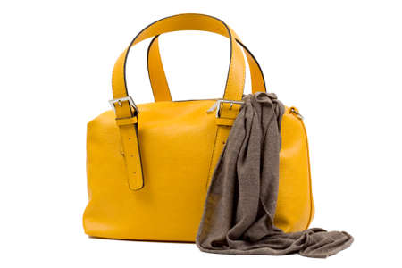 hand bag: yellow woman hand bag and scarf isolated on white background