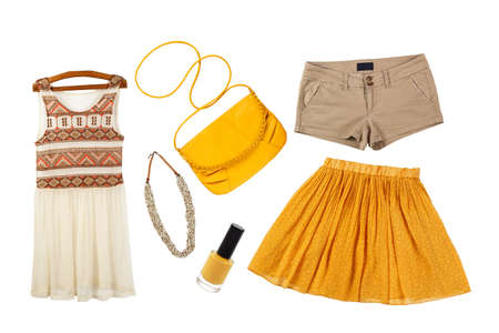 collage of collection female summer clothes isolated on white background