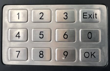 Close-up numeric keypad on the vending machine
