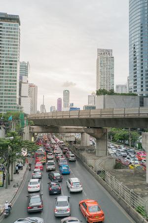 BangkokThailand   May 132015 : Traffic in Sathorn districtBangkokThailand. Cars with blur motion.