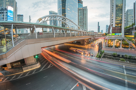 BangkokThailand   May 132015 : Long exposure of traffic on Sathorn districtBangkokThailand.