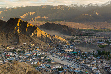 leh: Views of Leh city from the top. Stock Photo